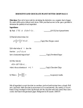Derivatives and Chocolate Peanut Butter Crispy Balls