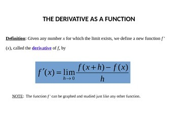 Derivatives and Differentiability