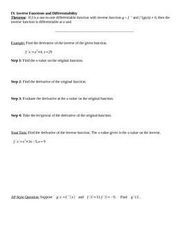 Derivatives of Inverse Functions Notes