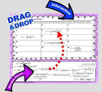 Derivatives of Trig Functions Digital Task Cards with GOOGLE Slides