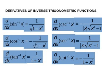 Derivatives of Trig and Inverse Trig Functions