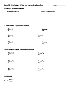 Derivatives of Trig and Inverse Trig Functions Notes