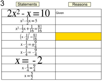 Derive the Quadratic Formula for Power Point + 2 Complete the Square Assignments