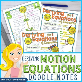 Deriving the 5 Equations of Kinematics Doodle Notes Bundle for Physics