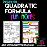 Deriving the Quadratic Formula Comic Book Doodle Notes plu