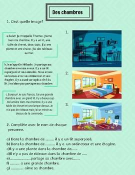 Des chambres- French worksheet bedroom description
