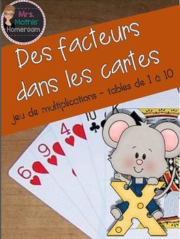 Des facteurs dans les cartes -jeu de multiplications, tables de 1 à 10
