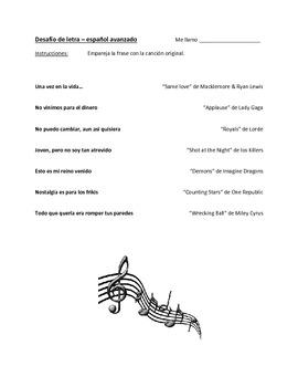 Desafío de letra - Lyric Challenge for Advanced Spanish Classes