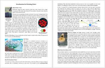 Desalination for Drinking Water Comprehension Reading Article - Grade 8 and Up