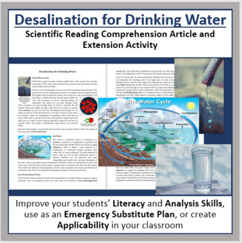 Desalination of Drinking Water Comprehension Reading Article - Grade 8 and Up