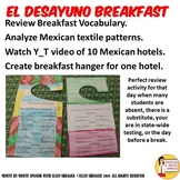 Desayuno Spanish Breakfast Review Lesson with Hotel Menu Hanger Templates