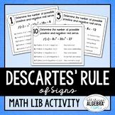 Descartes' Rule of Signs Math Lib Activity