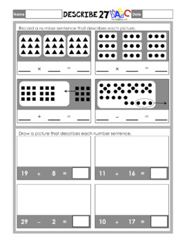 Describe Amounts and Numbers 1 to 31 Math Worksheets