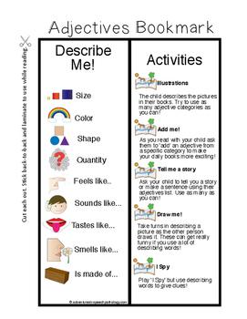 Describe Me: Adjectives Bookmark