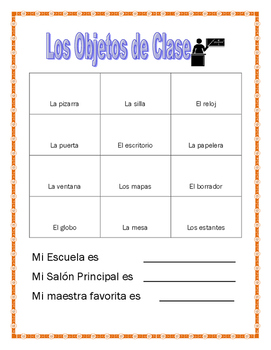 Spanish Classroom Project- Counting Classroom Objects using Numbers from 0-30