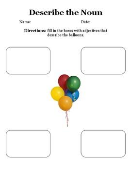 Describe the Balloon with Adjectives