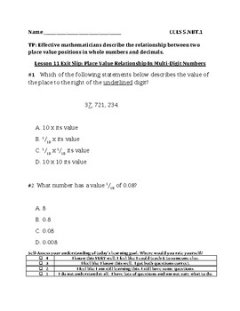 Describe the Relationship Between 2 Place Value Positions in Decimals Exit Slip