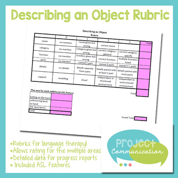 Describing An Object Rubric