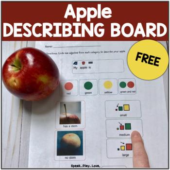 Describing Apples Communication Board FREE– Speech Therapy