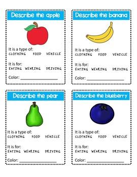 Describing Basic Pictures Language Task Cards (sped/autism)