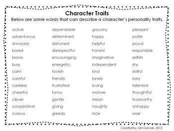 Describing Characters Freebie