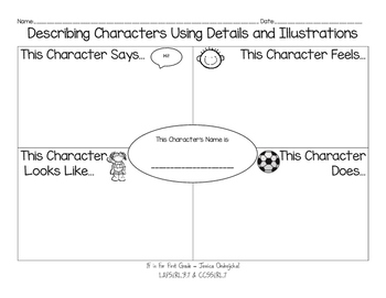 Describing Characters Graphic Organizer and Anchor Chart Pack