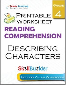 Describing Characters Printable Worksheet, Grade 4