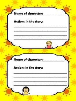 Describing Charcters from a Story Graphic Organizer or Cards
