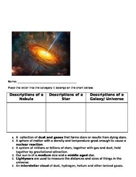 Describing Components of the Universe- Card Sort