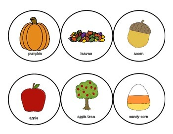 Fall Thematic Vocabulary Words Describing Graphic Organizer