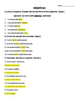 Spanish Describing Food Quiz