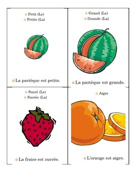 Describing Fruits in French Student Guide Page