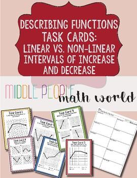 Describing Functions Task Cards: Linear vs. Non-Linear & Increasing/Decreasing