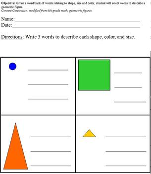 Describing Geometric Figures with Word Bank; Differentiated for Special Ed