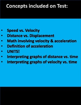 Describing & Graphing Motion TEST (for Physical Science)