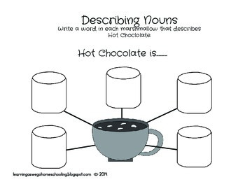 Describing Hot Chocolate - Adjective Worksheet  (b/w version)