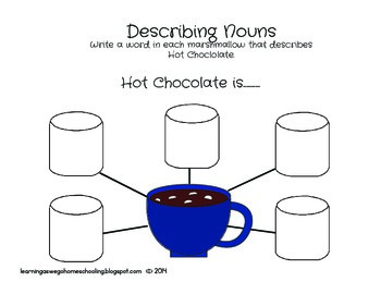 Describing Hot Chocolate - Adjective Worksheet  (color version)