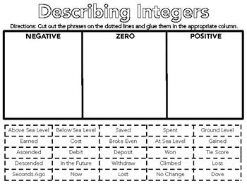 Describing Integers Cut and Paste Activity