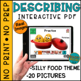 Describing Interactive PDF Silly Food Theme for Speech Therapy