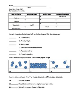 Describing Matter Review/ Test