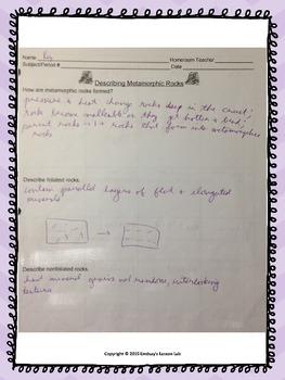Describing Metamorphic Rocks