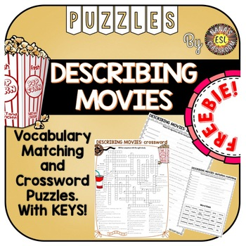 Descriptive Adjectives for Movies 2 Word Puzzles FREEBIE
