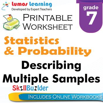 Describing Multiple Samples Printable Worksheet, Grade 7