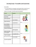 Describing People ESL Mini Lesson--Personalities and Chara