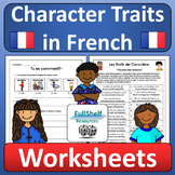 Describing People in French Character Traits Worksheets