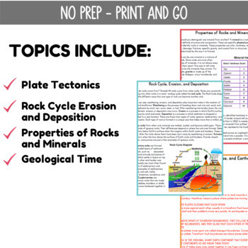 Earth Science Reading Passages | Plate Tectonics & Rock Cycle | Grade 5-6