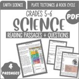 Earth Science Reading Passages {Set 1/3} Plate Tectonics & Rock Cycle (PDF)