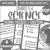 Earth Science Reading Passages | Plate Tectonics & Rock Cy