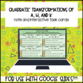 Describing Quadratic Transformations a h k for use with Go