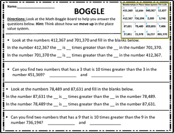 3.2B Describing Relationships in Place Value Math BOGGLE STAAR